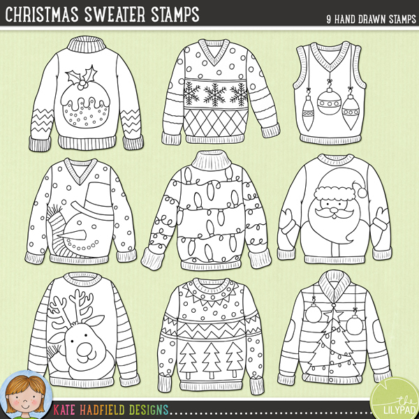 Outlined versions of my Christmas Sweaters doodles, this stamp pack contains the same doodles in three different formats: black outline png, black outline filled with white png (as shown in the preview) and a new bolder outline version for working on a smaller scale. Digital stamps are perfect for creating colouring sheets, cards and other hybrid projects as well as for stamping on your digital scrapbooking pages!	A selection of characterful Christmas sweater doodles inspired by Christmas Jumper Day (and ugly Christmas sweater parties!!). Contains the following designs (average size: 3-4): baubles, lights, Christmas pudding, reindeer, Santa, snowflakes, snowman, Christmas tree and Christmas tree patternFOR PERSONAL & EDUCATIONAL USE (please see my Terms of Use for more information)