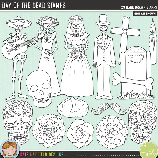Outlined versions of my Day of the Dead doodles this stamp pack contains the same doodles in three different formats: black outline png, black outline filled with white png (as shown in the preview) and a new bolder outline version for working on a smaller scale. Digital stamps are perfect for creating colouring sheets, cards and other hybrid projects as well as for stamping on your digital scrapbooking pages!Contains the following hand drawn stamps: banner, 2 bones, 2 pan de los muertos, 2 candles, cross, 2 flowers, tombstone and grass, 2 hearts, 3 leaves, 2 marigolds, mustache, 2 roses, 4 skeleton figures (musician, lady, bride, groom), skull and 2 sugar skulls.FOR PERSONAL & EDUCATIONAL USE (please see myTerms of Usefor more information)