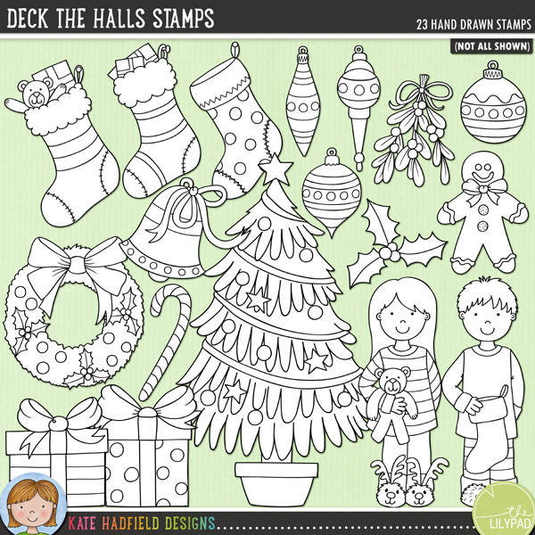 Outline versions of my Deck the Halls doodles, this stamp pack contains the same doodles in three different formats: black outline png, black outline filled with white png (as shown in the preview) and jpegs (solid white background). Perfect for creating colouring sheets, cards and other hybrid projects as well as for your stamping on your digital scrapbooking pages!From the pyjamas to stockings and gifts to gingerbread houses, Deck the Halls is packed with Christmas fun (and LOADS of festive cheer!) Contains the following hand drawn doodles: 4 baubles and 3 hangers, bell, candy cane, Christmas tree, string of lights, 3 gifts, gingerbread house, gingerbread man, holly sprig, mistletoe, boy and girl in Christmas pyjamas, wreath, 3 stockings and joy and noel word doodles. Also contains the following wordy-bits: baubles, bell, Christmas, decorate, decorating, decorations, fairy lights, garland, gingerbread, holly, magic, sparkle, stocking, the, tinsel, tree, trim, trimming, twinkle lights and wreath.FOR PERSONAL & EDUCATIONAL USE (please see myTerms of Usefor more information)