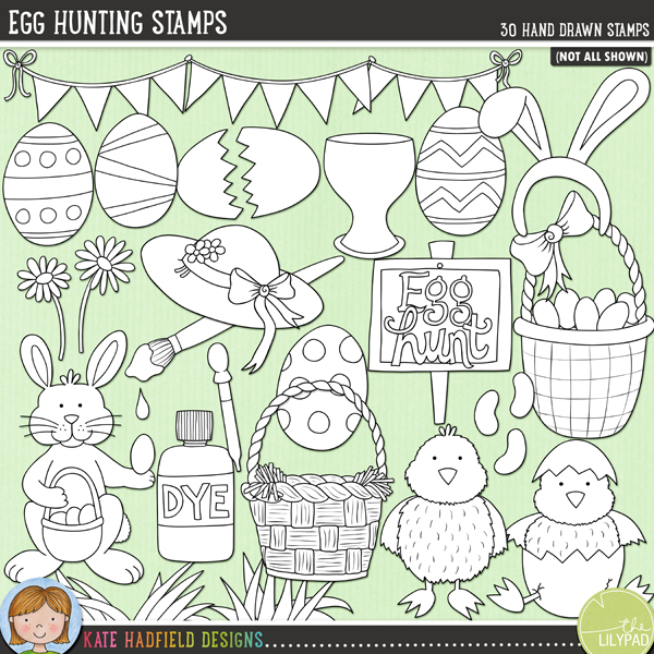 Outlined versions of my Egg Hunting, this stamp pack contains the same doodles in three different formats: black outline png, black outline filled with white png (as shown in the preview) and a new bolder outline version for working on a smaller scale. Digital stamps are perfect for creating colouring sheets, cards and other hybrid projects as well as for stamping on your digital scrapbooking pages!I created this doodle pack with all my favourite Easter activities in mind: decorating eggs, helping the Easter Bunny hide them and then watching the children rush around collecting them all! Contains the following hand-drawn designs: 2 baskets, bonnet, bunny ears, bunting, 2 chicks, 2 daisies, bottle of dye, pipette, Easter Bunny, 6 decorated eggs, broken eggshell, egg cup, 2 clumps of grass, 3 jellybeans, 2 paintbrushes, 2 paint drips, 2 paint splats, sign (blank and egg hunt versions) and the words, 'Egg' and 'hunt'.FOR PERSONAL & EDUCATIONAL USE (please see myTerms of Usefor more information)