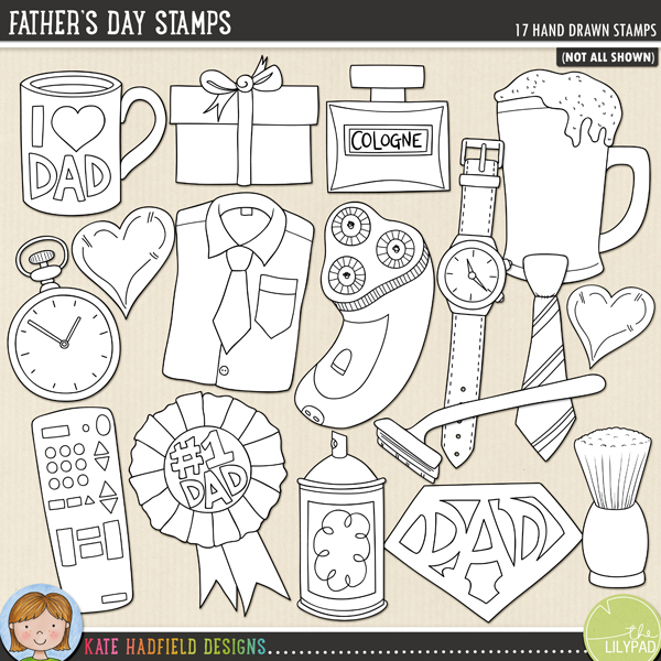 Outlined versions of my Father's Day doodles,this stamp pack contains the same doodles in three different formats: black outline png, black outline filled with white png (as shown in the preview) and a new bolder outline version for working on a smaller scale. Digital stamps are perfect for creating colouring sheets, cards and other hybrid projects as well as for stamping on your digital scrapbooking pages!Celebrate fatherhood with this doodle pack dedicated to all things, Dad! Contains the following hand drawn doodles: coffee mug (with and without the I heart Dad lettering), bottle of cologne, electric shaver, fob watch, shirt and tie, gift, heart, pint of beer, razor, remote control, number one dad rosette, shaving brush and cream, SuperDad logo, tie and wristwatch.FOR PERSONAL & EDUCATIONAL USE (please see myTerms of Usefor more information)