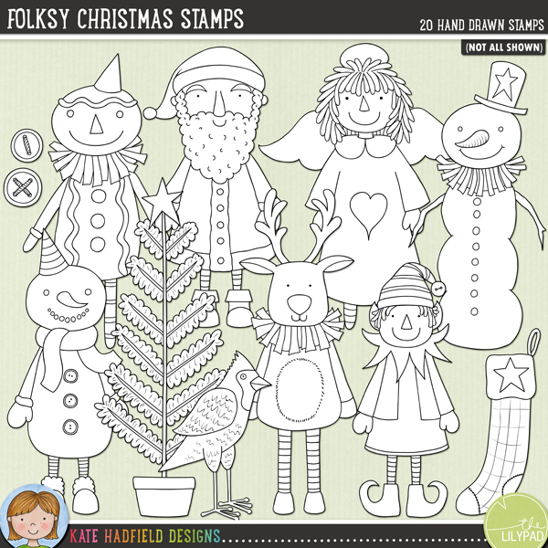Inspired by folk and primitive art, this collection of Christmas characters is sure to add a touch of hand-made, folksy whimsy to your seasonal pages and projects! Contains the following hand drawn doodles: angel doll, 2 buttons, red cardinal, elf, Father Christmas, gingerbread man, 3 hats, heart, mitten, moon, reindeer, robin, 2 snowmen, star, stocking and tree.Outlined versions of my Folksy Christmas doodles, Folksy Christmas Stamps contains the same doodles in three different formats: black outline png, black outline filled with white png (as shown in the preview) and jpegs (solid white background). Perfect for creating colouring sheets, cards and other hybrid projects as well as for your stamping on your digital scrapbooking pages!FOR PERSONAL & EDUCATIONAL USE (please see myTerms of Usefor more information)