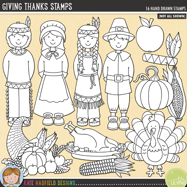 Outline versions of my Giving Thanks doodles, this stamp pack contains the same doodles in three different formats: black outline png, black outline filled with white png (as shown in the preview) and a new bolder outline version for working on a smaller scale. Digital stamps are perfect for creating colouring sheets, cards and other hybrid projects as well as for stamping on your digital scrapbooking pages!Giving Thanks is a celebration of that all-American tradition: Thanksgiving! Contains the following hand drawn doodles: apple, apple pie, colourful corn, cornucopia, gourd, native American headdress, native American boy and girl, pilgrim boy and girl, slick of pumpkin pie, pilgrim hat, pumpkin, roast turkey platter, sweetcorn and turkey.FOR PERSONAL & EDUCATIONAL USE (please see myTerms of Usefor more information)