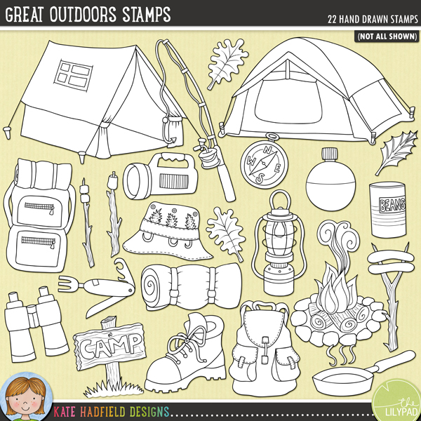 Outlined versions of my Great Outdoors doodles,this stamp pack contains the same doodles in three different formats: black outline png, black outline filled with white png (as shown in the preview) and a new bolder outline version for working on a smaller scale. Digital stamps are perfect for creating colouring sheets, cards and other hybrid projects as well as for stamping on your digital scrapbooking pages!A fun set of outdoorsy camping doodles perfect for recording all your camping, fishing or hiking adventures in the great outdoors! Contains the following hand drawn doodles: binoculars, boot, camp-fire, compass, fishing hat, fishing rod, lamp, 2 leaves, marshmallows on sticks, 2 x rucksacks, pan, penknife, sausages on sticks, camp (and blank) sign, sleeping bag, smoke, 2 x tents, can of beans, torch and water canteen.FOR PERSONAL & EDUCATIONAL USE (please see myTerms of Usefor more information)