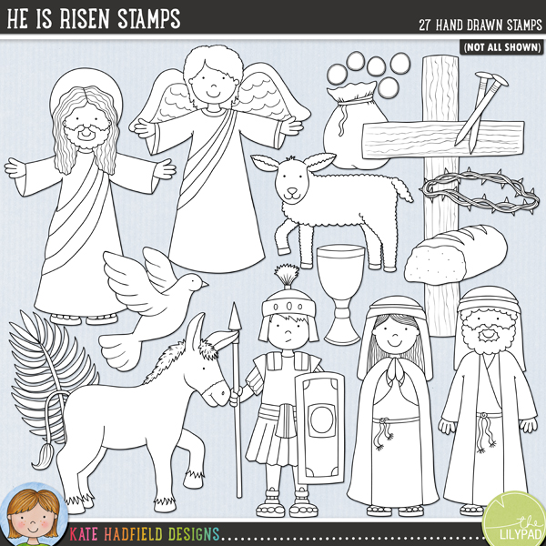 Outlined versions of my He Is Risen doodles, He Is Risen Stamps contains the same doodles in three different formats: black outline png, black outline filled with white png (as shown in the preview) and jpegs (solid white background). Perfect for creating colouring sheets, cards and other hybrid projects as well as for your stamping on your digital scrapbooking pages! Contains the following hand drawn stamps: angel, bottle of anointing oil, apostle, bowl and sponge, bread, cloth, cross and purple draped cloth, crown of thorns, cup and bread, donkey, dove, halo, Jesus, lamb, nail, 2 palm leaves, pieces of silver, Roman soldier, spear, tomb and rock, woman and the following word art pieces: Alleluia and He is Risen.FOR PERSONAL & EDUCATIONAL USE (please see myTerms of Usefor more information)