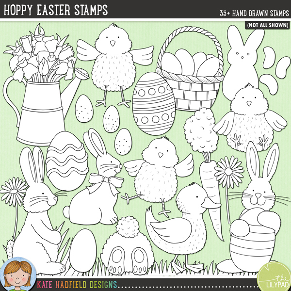 Outlined versions of my Hoppy Easter doodles, this stamp pack contains the same doodles in three different formats: black outline png, black outline filled with white png (as shown in the preview) and a new bolder outline version for working on a smaller scale. Digital stamps are perfect for creating colouring sheets, cards and other hybrid projects as well as for stamping on your digital scrapbooking pages!Created for the first winner of the 2015 Custom Doodle contest, the brief was colourful Easter doodles with lots of bunnies, chicks and eggs!. Celebrate Easter in cutesy style with these new hand drawn doodles! Hoppy Easter includes the following hand drawn doodles: 2 baskets (one with eggs, one without), 5 bunnies, 2 candy bunnies, candy chick, 3 candy eggs, 2 carrots, 3 chicks, chocolate bunny, chocolate egg, 3 daisies, 2 duck eggs, 2 ducklings, 5 painted Easter eggs, 4 patches of grass (and 2 patches of snow and grass), 3 jellybeans and a watering can with spring flowers.FOR PERSONAL & EDUCATIONAL USE (please see myTerms of Usefor more information)