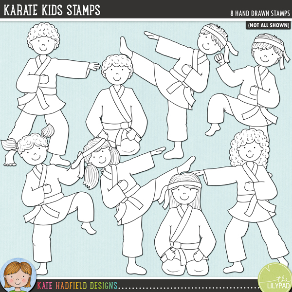 Outlined versions of m yKarate Kids doodles, this stamp pack contains the same doodles in three different formats: black outline png, black outline filled with white png (as shown in the preview) and a new bolder outline version for working on a smaller scale. Digital stamps are perfect for creating colouring sheets, cards and other hybrid projects as well as for stamping on your digital scrapbooking pages!	A selection of 8 kids in various martial arts style poses! Perfect for all the Karate Kids in your family! Contains 8 hand drawn doodles and co-ordinates with my Black Belt doodle pack.FOR PERSONAL & EDUCATIONAL USE (please see my Terms of Use for more information)