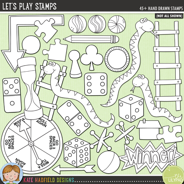 Outline versions of my Let's Play doodles, this stamp pack contains the same doodles in three different formats: black outline png, black outline filled with white png (as shown in the preview) and a new bolder outline version for working on a smaller scale. Digital stamps are perfect for creating colouring sheets, cards and other hybrid projects as well as for stamping on your digital scrapbooking pages!Let's Play! is a fun set of board game inspired illustrations that's perfect for recording your games night memories! Contains the following hand drawn doodles: 2 arrows; backgammon counter; Bingo wordart; playing card suit symbols; 2 counters / game pieces; nought and cross; 8 dice; 2 dominoes; house; 2 jacks and jack ball; 2 ladders; 3 snakes; 3 marbles, pencil; 3 pickup sticks; 3 jigsaw pieces; spinner with arrow (blank version also included); timer and Winner wordart.FOR PERSONAL & EDUCATIONAL USE (please see myTerms of Usefor more information)