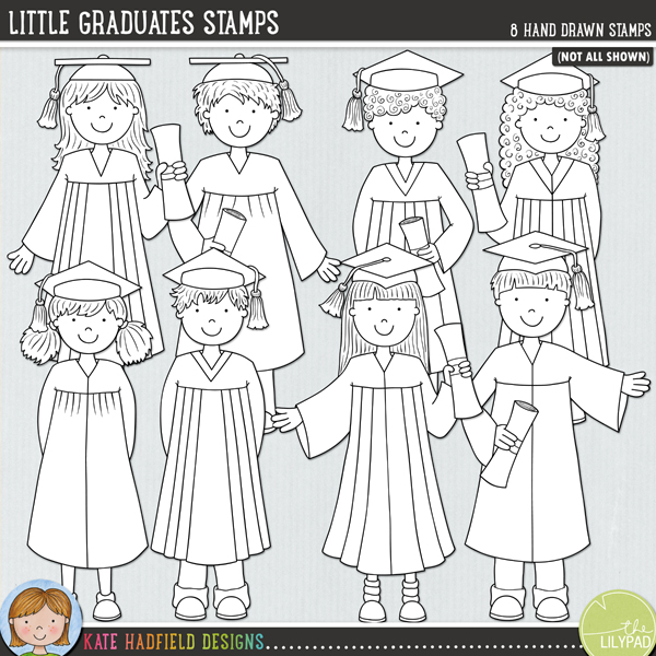 Outlined versions of my Little Graduates doodles,this stamp pack contains the same doodles in three different formats: black outline png, black outline filled with white png (as shown in the preview) and a new bolder outline version for working on a smaller scale. Digital stamps are perfect for creating colouring sheets, cards and other hybrid projects as well as for stamping on your digital scrapbooking pages!A set of little graduate kids in gowns, celebrating their success! Contains 8 hand drawn characters: four girls and four boys (approx size 8)FOR PERSONAL & EDUCATIONAL USE (please see myTerms of Usefor more information)