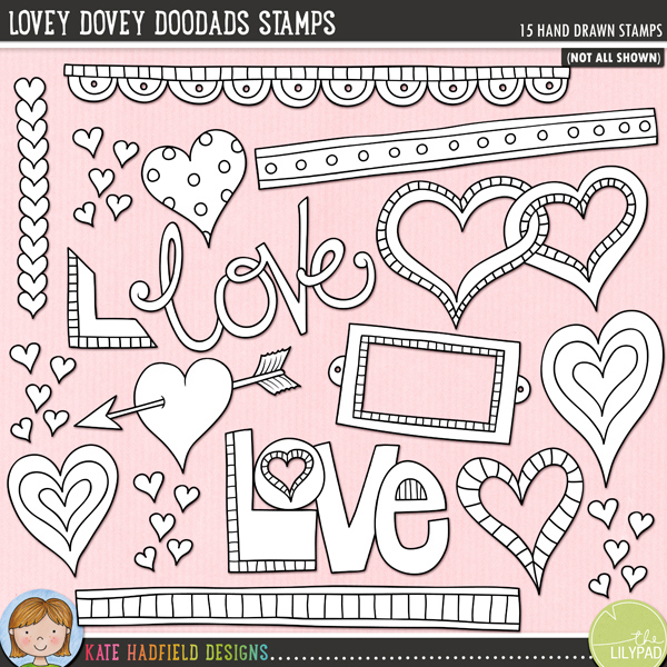 Outline versions of my Lovey Dovey Doodads doodles, this stamp pack contains the same doodles in three different formats: black outline png, black outline filled with white png (as shown in the preview) and a new bolder outline version for working on a smaller scale. Digital stamps are perfect for creating colouring sheets, cards and other hybrid projects as well as for stamping on your digital scrapbooking pages!A collection of lovey dovey bits and pieces that are perfect for adding a romantic touch of hand drawn whimsy to your pages and projects! Contains: arrow heart, bookplate, 3 doodle strips, entwined hearts, 4 other hearts, 2 'love' wordart pieces, book corner, row of hearts and cluster of tiny hearts.FOR PERSONAL & EDUCATIONAL USE (please see myTerms of Usefor more information)