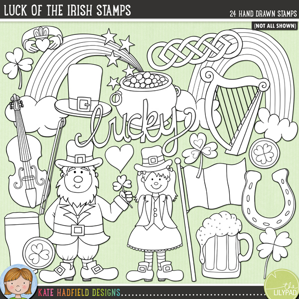 Outlined versions of my Luck of the Irish doodles, this stamp pack contains the same doodles in three different formats: black outline png, black outline filled with white png (as shown in the preview) and a new bolder outline version for working on a smaller scale. Digital stamps are perfect for creating colouring sheets, cards and other hybrid projects as well as for stamping on your digital scrapbooking pages!	Contains the following hand drawn stamps: Celtic knot, claddagh ring, fiddle and bow, Irish flag, 2 gold coins, harp, leprechaun hat, hat, heart, lucky horseshoe, Irish stout, leprechaun, leprechaun girl, pipe, Lucky wordart, pint of beer, pot of gold, 2 rainbows, raindrops, 3 shamrock and star sprinkle.FOR PERSONAL & EDUCATIONAL USE (please see my Terms of Use for more information)