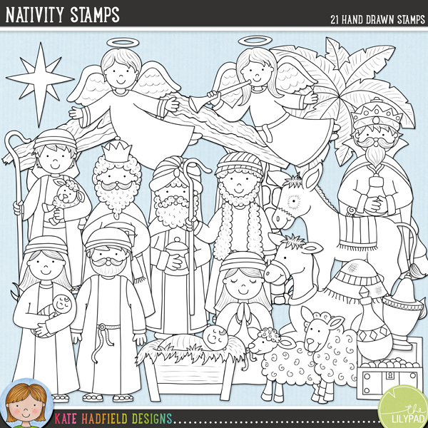 A collection of Nativity doodles that are perfect for adding a touch of hand-drawn whimsy to your your layouts and projects! Contains the following hand-drawn stamps: 2 angels, baby Jesus in manger, camel, donkey, casket of gold, bottle of frankincense, bottle of myrrh, sheep, lamb, Mary with baby Jesus, Joseph, 2 shepherds, stable, star, tree and 3 wise men. (Average size of figures: 6 inches tall)	Outlined versions of my Nativity doodles, Nativity Stamps contains the same doodles in three different formats: black outline png, black outline filled with white png (as shown in the preview) and jpegs (solid white background). Perfect for creating colouring sheets, cards and other hybrid projects as well as for your stamping on your digital scrapbooking pages!FOR PERSONAL & EDUCATIONAL USE (please see my Terms of Use for more information)
