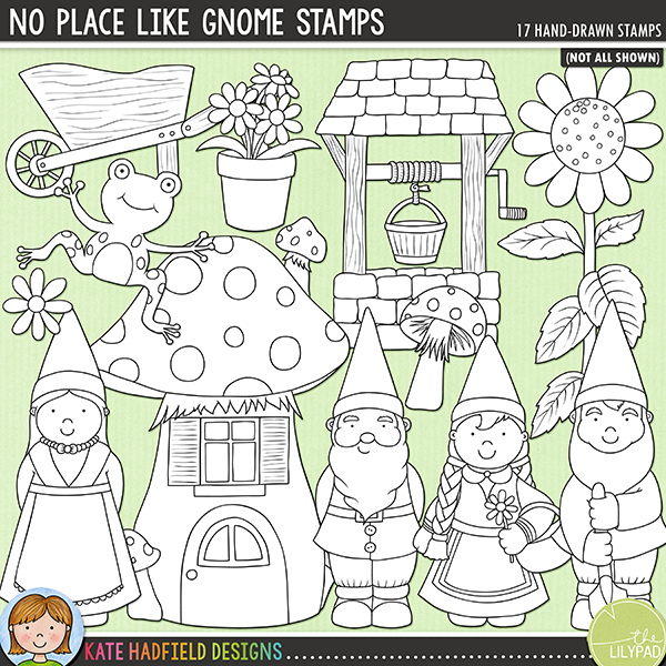 Outlined versions of my No Place Like Gnome doodles, this stamp pack contains the same doodles in three different formats: black outline png, black outline filled with white png (as shown in the preview) and a new bolder outline version for working on a smaller scale. Digital stamps are perfect for creating colouring sheets, cards and other hybrid projects as well as for stamping on your digital scrapbooking pages!There's no place like gnome, there's no place like gnome, there's no place like gnome! This fun little pack of doodles was inspired by a friend's love of all things 'gnomey' and contains the following hand drawn doodles: daisy, 2 flower pots, frog, 4 garden gnomes, 2 patches of grass, toadstool house, sunflower, 2 toadstools, watering can, wheelbarrow and wishing well.FOR PERSONAL & EDUCATIONAL USE (please see myTerms of Usefor more information)