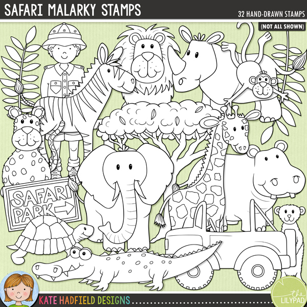Outline versions of my Safari Malarky doodles, this stamp pack contains the same doodles in three different formats: black outline png, black outline filled with white png (as shown in the preview) and a new bolder outline version for working on a smaller scale. Digital stamps are perfect for creating colouring sheets, cards and other hybrid projects as well as for stamping on your digital scrapbooking pages!Safari Malarky is a fun set of hand drawn wild animal themed doodles, perfect for recording trips to the zoo, safari parks or even real African safari adventures! Contains the following hand-drawn illustrations: binoculars, camera, crocodile, Don't feed the animals sign, elephant, 2 explorer girls and 2 explorer boys, giraffe, hippo, safari hut, jeep, 3 leaves, leopard, lion, meerkat, 2 monkeys, safari park sign, 2 pith helmets, rhino, snake, tortoise, tree, zebra and the following word-art doodles: Safari, Wild and Zoo.FOR PERSONAL & EDUCATIONAL USE (please see my Terms of Use for more information)
