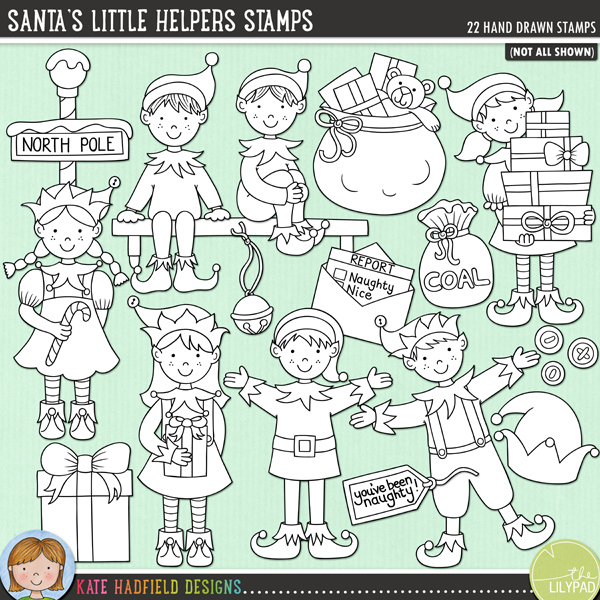 Outline versions of my Santa's Little Helpers doodles, this stamp pack contains the same doodles in three different formats: black outline png, black outline filled with white png (as shown in the preview) and jpegs (solid white background). Perfect for creating colouring sheets, cards and other hybrid projects as well as for your stamping on your digital scrapbooking pages!	Do you have a cheeky little elf who visits your house, leaves you little surprises and reports back to Santa?! Maybe your elf even leaves bags of coal for those on Santa's Naughty List! Perfect for Santa's workshop pages and projects and for documenting the antics of your own visiting elf, Santa's Little Helpers contains the following hand drawn doodles: bag of coal, 3 loose pieces of coal and you've been naughty! tag (also includes you've been nice! tag for those who aren't naughty!!); 3 buttons, 5 standing elves in various poses, 3 gifts, 2 hats, 2 sets of jingle bells, North Pole sign, report to Santa, shelf, 2 seated elves and bag of toys.FOR PERSONAL & EDUCATIONAL USE (please see my Terms of Use for more information)