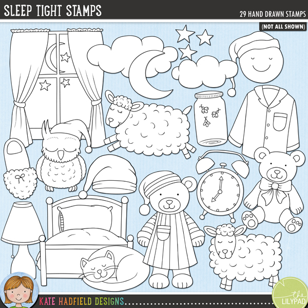 Outline versions of my Sleep Tight doodles, this stamp pack contains the same doodles in three different formats: black outline png, black outline filled with white png (as shown in the preview) and a new bolder outline version for working on a smaller scale. Digital stamps are perfect for creating colouring sheets, cards and other hybrid projects as well as for stamping on your digital scrapbooking pages!	Inspired by bedtime routines and sweet dreams, Sleep Tight contains the following hand drawn doodles: alarm clock, bed, bedtime drink, sleeping cat, 2 clouds, eye mask, fireflies in a jar, lamp, crescent moon (with and without night cap), smiling moon with night cap, night cap, sleeping owl, pillow, 2 sets of pyjamas, 2 sheep, Sleepy wordart, 2 slippers, 3 stars, 2 story books, 2 teddy bears, window and zzzz wordart. Also includes the following hand written wordy-bits: bed time, bedtime story, blanket, counting sheep, dreamland, good night, Land of Nod, lights out, night night, sleep tight, sweet dreams, zzzzzzz.FOR PERSONAL & EDUCATIONAL USE (please see my Terms of Use for more information)