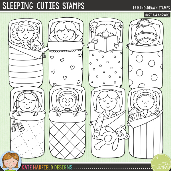 Outline versions of my Sleeping Cuties doodles, this stamp pack contains the same doodles in three different formats: black outline png, black outline filled with white png (as shown in the preview) and a new bolder outline version for working on a smaller scale. Digital stamps are perfect for creating colouring sheets, cards and other hybrid projects as well as for stamping on your digital scrapbooking pages!A set of little sleepover girls all tucked up in their sleeping bags enjoying their slumber party! Sleeping Cuties coordinates with my PJ Party doodles and contains 8 girls in sleeping bags, 7 of the girls are supplied with 2 different hairstyles for a total of 15 little sleeping beauties! These illustrations are perfect for adding a touch of hand-drawn whimsy to your slumber party layouts and invitations!FOR PERSONAL & EDUCATIONAL USE (please see myTerms of Usefor more information)