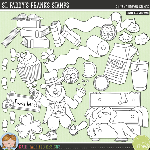 Outlined versions of my St. Paddy's Pranks doodles, this stamp pack contains the same doodles in three different formats: black outline png, black outline filled with white png (as shown in the preview) and a new bolder outline version for working on a smaller scale. Digital stamps are perfect for creating colouring sheets, cards and other hybrid projects as well as for stamping on your digital scrapbooking pages!	Contains the following hand drawn stamps: messy chest of drawers, 2 chocolate coins, 2 chocolate gold coins in wrappers, shamrock cookie, green cupcake, rainbow cupcake, 2 sets of leprechaun footprints, gold nuggets and sparkle, glass and carton of green milk, dancing leprechaun, messy pile of books, leprechaun I was here! note, shamrock, 2 messy rolls of toilet paper, 2 upturned chairs and the following word strips: gold, gotcha, leprechaun, mess, mischief, pinch, prank and trick.FOR PERSONAL & EDUCATIONAL USE (please see my Terms of Use for more information)