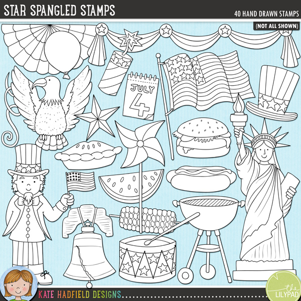 Outlined versions of my Star Spangled doodles, this stamp pack contains the same doodles in three different formats: black outline png, black outline filled with white png (as shown in the preview) and a new bolder outline version for working on a smaller scale. Digital stamps are perfect for creating colouring sheets, cards and other hybrid projects as well as for stamping on your digital scrapbooking pages!Star Spangled is a celebration of all things American! Perfect for your 4th of July celebrations, this pack contains the following hand drawn doodles: apple pie, 3 balloons, BBQ grill and smoke, bunting, burger, 4th of July calendar, cupcake, drum and drumsticks, eagle, 3 fireworks, 2 flags, flag banner, hat, heart, hot dog, Liberty Bell, liberty hat, pinwheel, sparkler, 6 stars, Statue of Liberty, 3 streamers, swags, corn, Uncle Sam and watermelon.FOR PERSONAL & EDUCATIONAL USE (please see myTerms of Usefor more information)