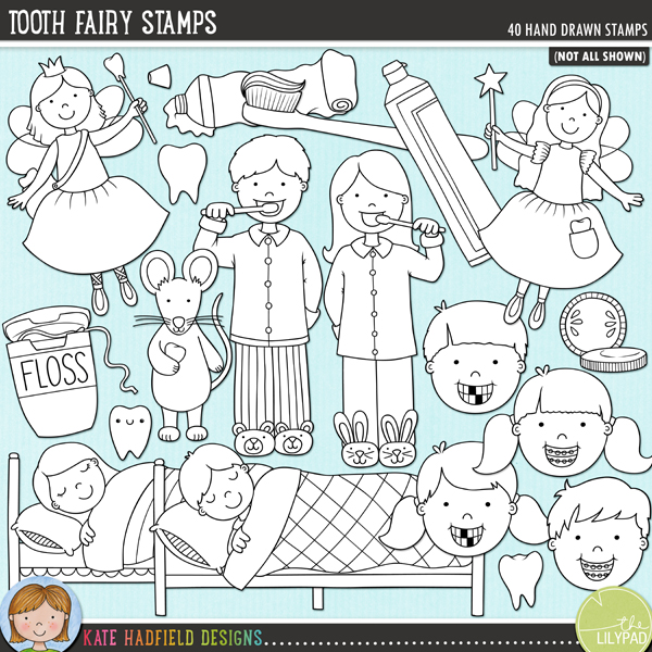Outline versions of my Tooth Fairy doodles, this stamp pack contains the same doodles in three different formats: black outline png, black outline filled with white png (as shown in the preview) and a new bolder outline version for working on a smaller scale. Digital stamps are perfect for creating colouring sheets, cards and other hybrid projects as well as for stamping on your digital scrapbooking pages!	A celebration of all things toothy! Perfect for recording memories of lost teeth and visits from the Tooth Fairy, this pack contains the following hand drawn illustrations: bank note and coins, boy and girl cleaning teeth, dental mirror and dental probe, letter and envelope, 2 boys faces (one with gaps in teeth, one with braces), 2 girls faces (one with gaps in teeth, one with braces), dental floss, moon, mouth wash, pillow, sleeping boy and sleeping girl, 2 smiles, 2 smiles with braces, 2 smiles with missing teeth, 3 sparkles, 3 teeth, 2 tooth bags, 3 toothbrushes, 2 tooth fairies, 2 tooth mice (Ratón Pérez), toothpaste, toothpaste foam, 2 tubes of toothpaste.FOR PERSONAL & EDUCATIONAL USE (please see my Terms of Use for more information)