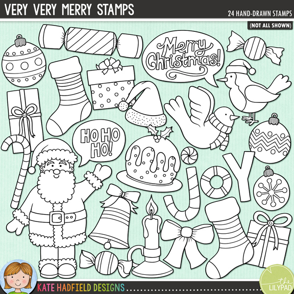 Outline versions of my Very Very Merry doodles, this stamp pack contains the same doodles in three different formats: black outline png, black outline filled with white png (as shown in the preview) and a new bolder outline version for working on a smaller scale. Perfect for creating colouring sheets, cards and other hybrid projects as well as for your stamping on your digital scrapbooking pages!Very Very Merry is a colourful mix of Christmas characters and is part of the December BYOC collection! Contains the following hand drawn doodles: 3 baubles, bell, bow, candle, candy cane, cracker, dove, 3 gifts, Ho ho ho! speech bubble, joy wordart, Merry Christmas! speech bubble, Christmas pudding, robin, Santa, Santa hat, 2 stockings and 2 sweeties.FOR PERSONAL & EDUCATIONAL USE (please see myTerms of Usefor more information)
