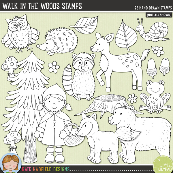 Outlined versions of my Walk in the Woods doodles,  this stamp pack contains the same doodles in three different formats: black outline png, black outline filled with white png (as shown in the preview) and jpegs (solid white background). Perfect for creating colouring sheets, cards and other hybrid projects as well as for your stamping on your digital scrapbooking pages!	This collection of fun forest characters was inspired by fairytales and a recent family Walk in the Woods!  Contains the following hand drawn doodles: 2 acorns, bear. fawn, 3 flowers, 2 foxes, frog, hedgehog, 3 leaves, owl, raccoon, Little Red Riding hood girl, snail, 2 toadstools, tree and tree stump.FOR PERSONAL & EDUCATIONAL USE (please see my Terms of Use for more information)