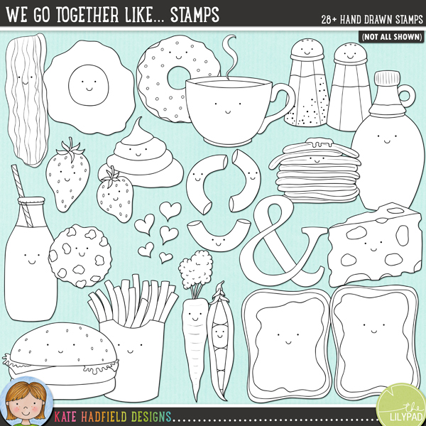 Outlined versions of my We To Together Like... doodles, this stamp pack contains the same doodles in three different formats: black outline png, black outline filled with white png (as shown in the preview) and a new bolder outline version for working on a smaller scale. Digital stamps are perfect for creating colouring sheets, cards and other hybrid projects as well as for stamping on your digital scrapbooking pages!A collection of fun, cute food characters that go together to make perfect pairs! Fun for Valentine's projects as well as everyday layouts, We Go Together includes the following hand drawn doodles: bacon and eggs, burger and fries, peas and carrots, macaroni and cheese, coffee and donuts, milk and cookies, strawberries and cream, peanut butter and jam / jelly, pancakes and syrup, salt and pepper. Also contains We Go Together wordart, hand written your'e the and to my, ampersand and hearts doodles.*NEW* Also includes extra versions without the smiley faces!FOR PERSONAL & EDUCATIONAL USE (please see myTerms of Usefor more information)