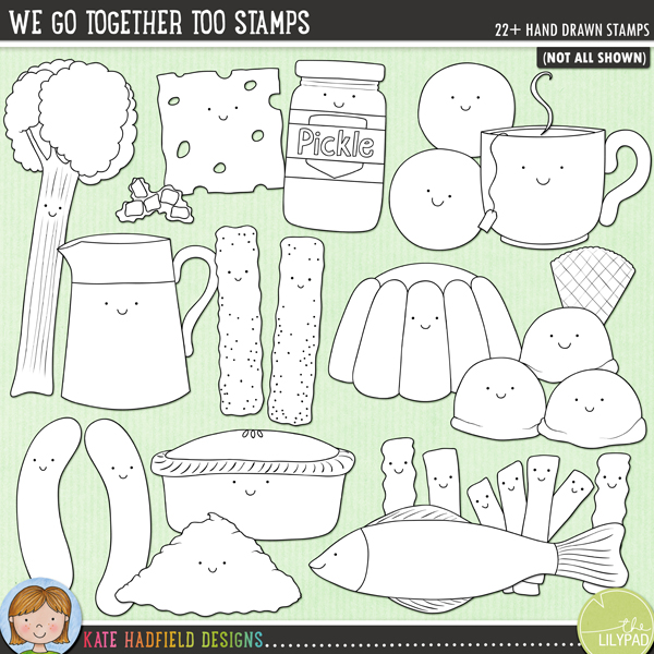 Outlined versions of my We Go Together Too doodles, this stamp pack contains the same doodles in three different formats: black outline png, black outline filled with white png (as shown in the preview) and a new bolder outline version for working on a smaller scale. Digital stamps are perfect for creating colouring sheets, cards and other hybrid projects as well as for stamping on your digital scrapbooking pages!	A collection of fun, cute food characters that go together to make some perfect pairs! The companion pack to my We Go Together Like.. doodles, We Go Together Too has a more British flavour! Fun for Valentine's projects as well as everyday layouts, We Go Together Too includes the following hand drawn doodles: bangers and mash, pie and mash, tea and biscuits, cheese and pickle, fish and chips, rhubarb and custard, fish fingers and custard, jelly (jello) and ice cream.*NEW* Also includes extra versions without the smiley faces!FOR PERSONAL & EDUCATIONAL USE (please see my Terms of Use for more information)