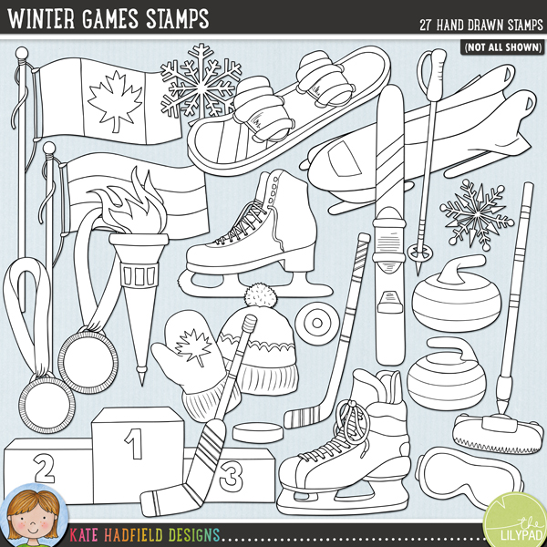 Outlined versions of myWinter Games doodles, Winter Games Stamps contains the same doodles in three different formats: black outline png, black outline filled with white png (as shown in the preview) and jpegs (solid white background). Perfect for creating colouring sheets, cards and other hybrid projects as well as for your stamping on your digital scrapbooking pages! Contains the following hand drawn stamps: bobsleigh, Canadian flag, Russian flag, South Korean flag, curling broom and 2 curling stones, figure skate, bobble hat, ice hockey skate, 2 ice hockey pucks, 2 ice hockey sticks, gold, silver and bronze medals (two versions each), red mitten (versions with and without maple leaf), podium, 2 torches, ski, 2 ski gates, ski goggles, ski pole, snowboard and 2 snowflakes. Also contains the following wordy-bits: aerials, alpine skiing, biathlon, bobsleigh, cross-country skiing, curling, downhill, figure skating, freestyle skiing, giant slalom, halfpipe, ice hockey, luge, moguls, nordic combined, ski jumping, skate, skating, skating, skeleton, ski, ski cross, skiing, slopestyle, snowboarding, speed skating, super G.FOR PERSONAL & EDUCATIONAL USE (please see myTerms of Usefor more information)