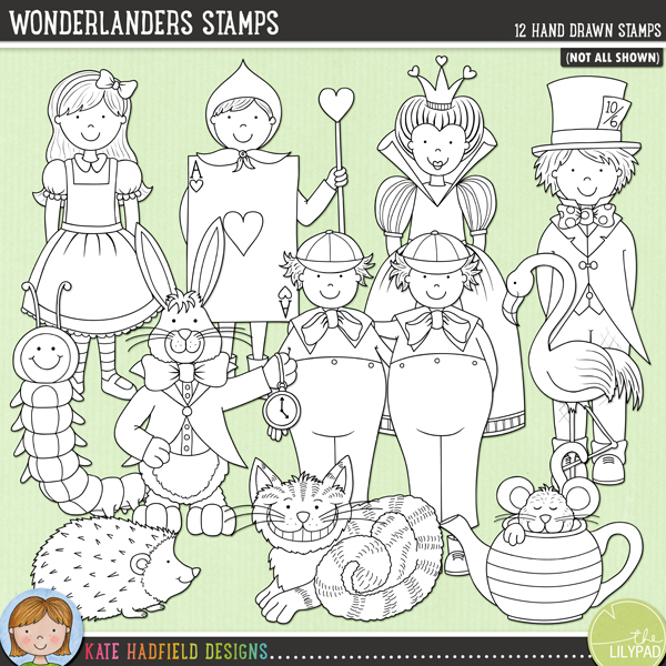 Outlined versions of my Wonderlanders doodles, Wonderlanders Stamps contains the same doodles in three different formats: black outline png, black outline filled with white png (as shown in the preview) and jpegs (solid white background). Perfect for creating colouring sheets, cards and other hybrid projects as well as for your stamping on your digital scrapbooking pages! Contains the following hand drawn characters: Alice, card person, caterpillar, Cheshire Cat, Cheshire Cat (smile only!!), dormouse in teapot, flamingo, Hatter, hedgehog, Queen of Hearts, Tweedle-Dum and Tweedle-Dee and the White Rabbit. Coordinates with my All Mad Here doodles.FOR PERSONAL & EDUCATIONAL USE (please see myTerms of Usefor more information)