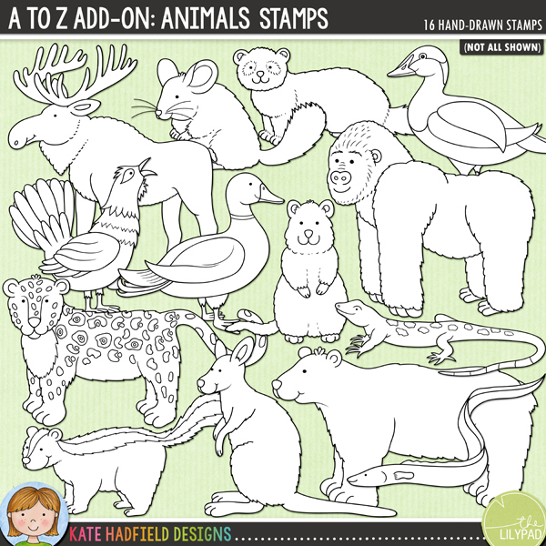 Outline versions of my A to Z add-on: Animals doodles, this stamp pack contains the same doodles in three different formats: black outline png, black outline filled with white png (as shown in the preview) and jpegs (solid white background). Perfect for creating colouring sheets, cards and other hybrid projects as well as for your stamping on your digital scrapbooking pages!	An add-on to my main A to Z set, this pack contains 16 extra animals and birds! Fun for recording trips to the zoo and other animals encounters, this pack contains the following hand-drawn illustrations: beetle, capercaillie, chinchilla, eel, eider, ferret, gorilla, jaguar, lizard, mallard duck, moose / elk, parakeet, polar bear, quokka, skunk and wallaby. FOR PERSONAL & EDUCATIONAL USE (please see my Terms of Use for more information)