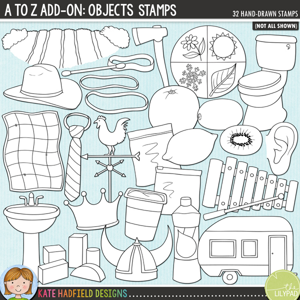 Outline versions of my A to Z Add-on: Objects doodles, this stamp pack contains the same doodles in three different formats: black outline png, black outline filled with white png (as shown in the preview) and jpegs (solid white background). Perfect for creating colouring sheets, cards and other hybrid projects as well as for your stamping on your digital scrapbooking pages!	An add-on to my main A to Z set, this pack contains 32 extra doodles! Contains the following hand-drawn illustrations: axe, caravan, cotton bud, cowboy hat, crown, ear, field, helmet, kiwi fruit, lemon, orange, quilt, 3 rubber bands / elastic bands, seasons, sink / basin, tie, toilet, washing up liquid / dish soap, weather vane, 5 wooden blocks, xylophone and mallet, yoghurt pot, 2 freezer / ziplock bags. FOR PERSONAL & EDUCATIONAL USE (please see my Terms of Use for more information)