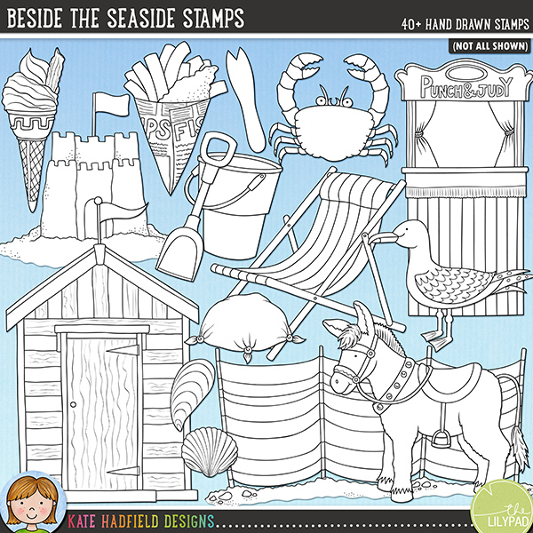 Outlined versions of my Beside The Seaside doodles, this stamp pack contains the same doodles in three different formats: black outline png, black outline filled with white png (as shown in the preview) and a new bolder outline version for working on a smaller scale. Digital stamps are perfect for creating colouring sheets, cards and other hybrid projects as well as for stamping on your digital scrapbooking pages!	Contains the following hand-drawn stamps: beach hut, bucket and spade, bunting, crab, 2 deckchairs, dipping net, donkey, fish and chips, fork, ice cream cone, ice lolly, Kiss Me Quick hat, knotted hanky, life ring, postcard, Punch and Judy stand, 3 rocks, rock pool, 2 patches of sand, 2 sand castles, 2 seagulls, 2 pieces of seaweed, 5 sea shells, water splash, stack of rocks, starfish, stick of rock and windbreak.FOR PERSONAL & EDUCATIONAL USE (please see my Terms of Use for more information)