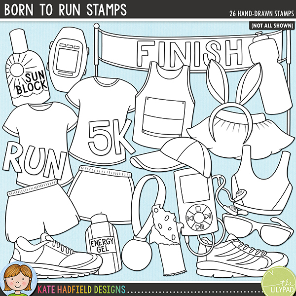 Outline versions of my Born to Run doodles, this stamp pack contains the same doodles in three different formats: black outline png, black outline filled with white png (as shown in the preview) and a new bolder outline version for working on a smaller scale. Digital stamps are perfect for creating colouring sheets, cards and other hybrid projects as well as for stamping on your digital scrapbooking pages!	 	Whether you are a seasoned marathon runner, or - like me! - a charity fun runner (complete with silly fancy dress costume!) then this running themed doodle pack is for you! Created for all the runners, joggers and walkers out there, Born to Run contains the following hand drawn doodles: bunny ears, cereal energy bar, energy gel, finish line, hat, medal, monitor, mp3 player, shirt race sign, runner icon, 2 shirts, 2 shoes, 2 pairs of shorts, sunblock, sunglasses, top, tutu, vest, water bottle and the following wordart pieces: 5k, fun, marathon, run.	 FOR PERSONAL & EDUCATIONAL USE (please see my Terms of Use for more information)