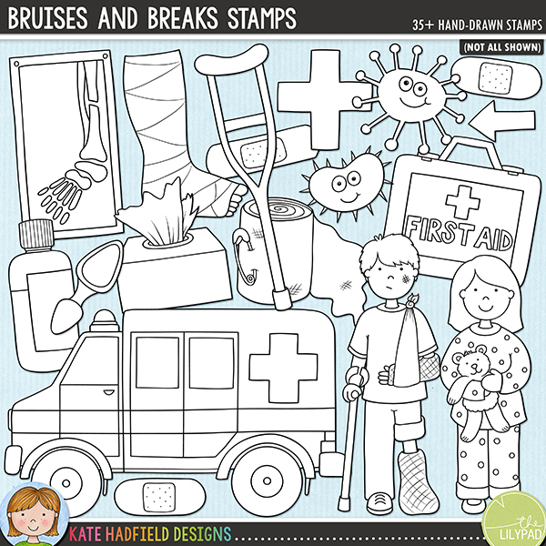 Outline versions of my Bruises and Breaks doodles, this stamp pack contains the same doodles in three different formats: black outline png, black outline filled with white png (as shown in the preview) and a new bolder outline version for working on a smaller scale. Digital stamps are perfect for creating colouring sheets, cards and other hybrid projects as well as for stamping on your digital scrapbooking pages!The first in my medical series, Bruises and Breaks was inspired by all those childhood illnesses, bumps, scrapes and bruises that kids are prone to! Contains the following hand-drawn doodles: boy with broken arm and leg (in 2 versions - happy and sad! - and two skin tones); girl with chicken pox (also in happy and sad versions, and two skin tones); ambulance; arrow; bandage; 2 band-aids, brave sticker; calamine lotion and splat; broken arm in cast; broken leg in cast; crutch; first aid box; 3 germs; lollipop; medicine bottle; spoon and drips; red cross; reflex hammer; spots; stethoscope; syringe; 2 thermometers; box of tissues and two x-raysFOR PERSONAL & EDUCATIONAL USE (please see myTerms of Usefor more information)