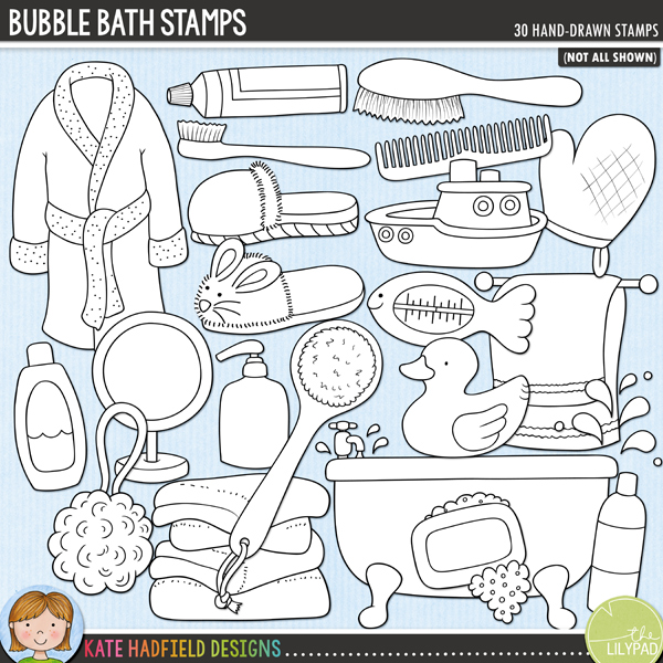 Outline versions of my Bubble Bath doodles, this stamp pack contains the same doodles in three different formats: black outline png, black outline filled with white png (as shown in the preview) and a new bolder outline version for working on a smaller scale. Digital stamps are perfect for creating colouring sheets, cards and other hybrid projects as well as for stamping on your digital scrapbooking pages!	Splish, splash - it's bath time! Perfect for recording all those watery moments from your little one's first ever bath, a favourite bath toy to making bubble bath beards, Bubble Bath contains the following hand drawn doodles: back brush, 3 bubble doodles, 2 bath robes, bath tub, 3 bottles, comb, bath frilly, hairbrush, hand soap, mirror, rubber ducky, shower cap, 2 slippers, soap, 2 splashes, sponge, thermometer, toothbrush, toothpaste, pile of towels, towel rail, toy boat and wash mit.FOR PERSONAL & EDUCATIONAL USE (please see my Terms of Use for more information)