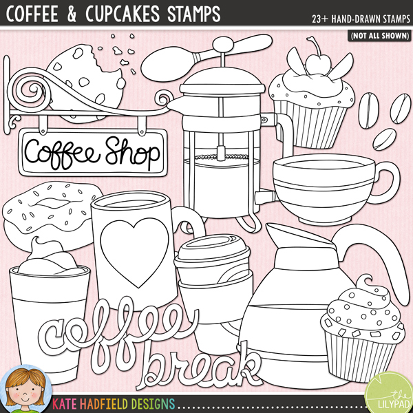 Outline versions of my Coffee & Cupcakes doodles, this stamp pack contains the same doodles in three different formats: black outline png, black outline filled with white png (as shown in the preview) and a new bolder outline version for working on a smaller scale. Digital stamps are perfect for creating colouring sheets, cards and other hybrid projects as well as for stamping on your digital scrapbooking pages!	A delicious doodle pack celebrating some tasty treats - coffee and cupcakes! Contains the following doodles: cafetiere, coffee beans, coffee pot, coffee stain, cookie and crumbs, 2 coffee cups, 3 cupcakes, donut, iced coffee, mug, coffee shop sign (also in a blank version), spoon, steam and takeout coffee. Also contains the following wordart or wordy-bits: coffee (x2), break, cupcake (x2), me time, cupcakes, cup o'joe, I love coffee, mmmmmm, sweet and yummy.FOR PERSONAL & EDUCATIONAL USE (please see my Terms of Use for more information)