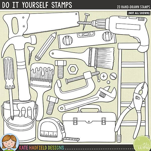 Outline versions of my Do It Yourself doodles, this stamp pack contains the same doodles in three different formats: black outline png, black outline filled with white png (as shown in the preview) and a new bolder outline version for working on a smaller scale. Digital stamps are perfect for creating colouring sheets, cards and other hybrid projects as well as for stamping on your digital scrapbooking pages!	Do It Yourself was created for all those DIYers and budding Mr-Fix-Its out there and is perfect for scrapping those DIY adventures and achievements (or even the odd home improvement mishap!)! Contains the following hand drawn doodles: 2 paintbrushes, nut and bolt, clamp, drill, hammer, knife, ladders, nail, paint can, pencil, pliers, saw, scraper, screw, 2 screwdrivers, 3 screw / nail heads, spanner (wrench), spirit level, tape measure and toolbox.FOR PERSONAL & EDUCATIONAL USE (please see my Terms of Use for more information)