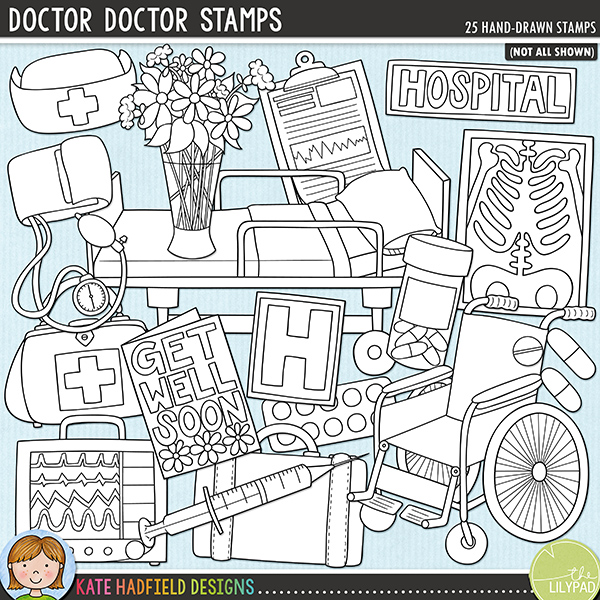 Outline versions of my Doctor Dcotor doodles, this stamp pack contains the same doodles in three different formats: black outline png, black outline filled with white png (as shown in the preview) and a new bolder outline version for working on a smaller scale. Digital stamps are perfect for creating colouring sheets, cards and other hybrid projects as well as for stamping on your digital scrapbooking pages!	 	The second in my medical series, 'Doctor, Doctor!' is packed with hospital related doodles and wordy-bits! Contains the following hand-drawn doodles: blood pressure cuff; medical chart; doctor's bag; drip; facemask; get well soon card; hospital bed; 2 hospital signs; 2 monitors; nurse's hat; pill bottle; pills; blister of pills; stethoscope; suitcase; syringe; vase of flowers; wheelchair; 2 wrist bands and x-ray.	 FOR PERSONAL & EDUCATIONAL USE (please see my Terms of Use for more information)
