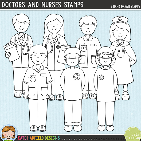 Outline versions of my Doctors and Nurses doodles, this stamp pack contains the same doodles in three different formats: black outline png, black outline filled with white png (as shown in the preview) and a new bolder outline version for working on a smaller scale. Digital stamps are perfect for creating colouring sheets, cards and other hybrid projects as well as for stamping on your digital scrapbooking pages!Doctors and Nurses is the companion pack to my Doctor Doctor and Bruises and Breaks sets! Contains the following hand-drawn doodles: two doctors in white coats, two nurses in blue uniforms, nurse in traditional uniform, two surgeons in scrubs.FOR PERSONAL & EDUCATIONAL USE (please see myTerms of Usefor more information)