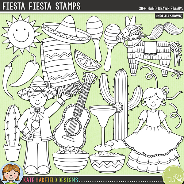 Outline versions of my Fiesta Fiesta! doodles, this stamp pack contains the same doodles in three different formats: black outline png, black outline filled with white png (as shown in the preview) and a new bolder outline version for working on a smaller scale. Digital stamps are perfect for creating colouring sheets, cards and other hybrid projects as well as for stamping on your digital scrapbooking pages!Packed with zingy colours and hot chillies, Fiesta, Fiesta! is perfect for adding a touch of spice to your Cinco de Mayo and vacation pages and projects! Contains the following hand-drawn doodles: blanket, boy and girl, 2 cacti, 2 chilli peppers, bottle of hot chilli sauce, bowl of chips, bowl of salsa, guitar, lime slice, 2 maracas, margarita, 2 moustaches, neckerchief, 2 piñatas with stick, 3 sombreros, 3 streamers, sun, taco and 'fiesta' wordart.FOR PERSONAL & EDUCATIONAL USE (please see myTerms of Usefor more information)