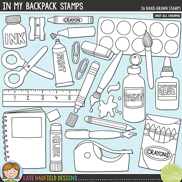 Outlined versions of my In My Backpack doodles, this stamp pack contains the same doodles in three different formats: black outline png, black outline filled with white png (as shown in the preview) and a new bolder outline version for working on a smaller scale. Digital stamps are perfect for creating colouring sheets, cards and other hybrid projects as well as for stamping on your digital scrapbooking pages!	Fun pack of doodled school supplies, perfect for your little back-to-schoolers and all the crafters out there! Contains the following hand drawn doodles: bulldog clip, chunky crayon, crayon, box of crayons, eraser, glue, glue stick, ink bottle, ink drops and splat, ink pen, marker pen, notebook, paint squirt and splat, paint bottle, 2 paintbrushes, paint palette, paint tube, paper-clip, pencil, pencil case, binder file, ruler, scissors, sharpener and tape.FOR PERSONAL & EDUCATIONAL USE (please see my Terms of Use for more information)