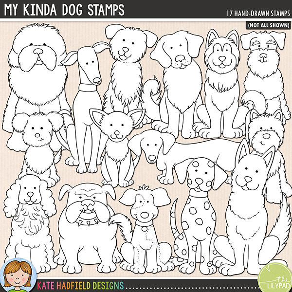 Outline versions of the My Kinda Dog doodles, this stamp pack contains the same doodles in three different formats: black outline png, black outline filled with white png (as shown in the preview) and a new bolder outline version for working on a smaller scale. Digital stamps are perfect for creating colouring sheets, cards and other hybrid projects as well as for stamping on your digital scrapbooking pages!	The companion set to my Doggie Days pack! Packed with different dog breeds, My Kinda Dog contains the following hand drawn doodles: Border Collie, British Bulldog, Chihuahua, Cocker Spaniel, King Charles Cavalier Spaniel, Dalmatian, Dachshund, Greyhound, Siberian Husky, Old English Sheepdog, Pom-A-Poo, Poodle, Golden Retriever, Schnauzer, crossbreed, German Shepherd and West Highland Terrier (Westie). FOR PERSONAL & EDUCATIONAL USE (please see my Terms of Use for more information)