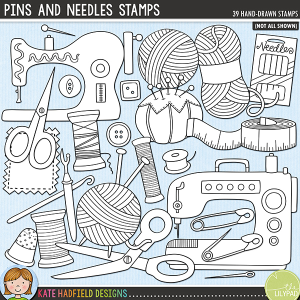 Outline versions of my Pins and Needles doodles, this stamp pack contains the same doodles in three different formats: black outline png, black outline filled with white png (as shown in the preview) and a new bolder outline version for working on a smaller scale. Digital stamps are perfect for creating colouring sheets, cards and other hybrid projects as well as for stamping on your digital scrapbooking pages!	Sewing, knitting, crochet, patchwork, quilting - whichever is your favourite this pack is perfect for anyone who enjoys using a needle! Contains the following hand drawn doodles: bobbin, 8 buttons, crochet hook, handmade label, knitting needle, 3 needles, packet of needles, fabric patch, 2 pins, pincushion, 2 safety pins, 2 pairs of scissors, 2 sewing machines, tape measure, thimble, 3 spools of thread, unpicker took and 3 balls of wool along with the following wordart / word strips: handmade x2, knit x2, sew, stitch x2, crochet, I, knitting, love, needle, patchwork, quilt, quilting, sewing, thread, to and with.FOR PERSONAL & EDUCATIONAL USE (please see my Terms of Use for more information)
