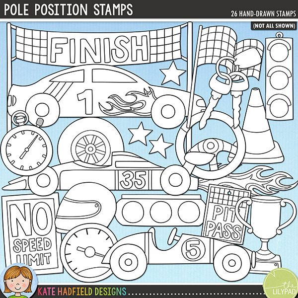 Outline versions of my Pole Position doodles, this stamp pack contains the same doodles in three different formats: black outline png, black outline filled with white png (as shown in the preview) and a new bolder outline version for working on a smaller scale. Digital stamps are perfect for creating colouring sheets, cards and other hybrid projects as well as for stamping on your digital scrapbooking pages!	Do you have a racing car fanatic in your family?! Document their love of motors, racing and their need for speed with this new set of doodles!! Pole Position contains the following hand drawn doodles: 3,2,1, GO! wordart; 3 cars; cone; finish sign (version with no text also included); 2 chequered flags; flames; furry dice; 2 helmets; keys; 2 traffic lights; pit pass (version with no text also included); no speed limit sign (version with no text also included); speedometer; stars; steering wheel; stopwatch; trophy; Vrooom wordart, wheel and whoosh.FOR PERSONAL & EDUCATIONAL USE (please see my Terms of Use for more information)
