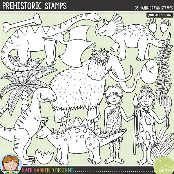 Outlined versions of my Prehistoric doodles, this stamp pack contains the same doodles in three different formats: black outline png, black outline filled with white png (as shown in the preview) and a new bolder outline version for working on a smaller scale. Digital stamps are perfect for creating colouring sheets, cards and other hybrid projects as well as for stamping on your digital scrapbooking pages!Contains the following hand drawn stamps: Ankylosaurus, 2 bones, branch, cavegirl, caveman, club, Diplodocus, 2 eggs, broken egg shell, campfire, 2 sets of dino footprints, 3 fossils, 2 clumps of grass, leaf, Woolly Mammoth, palm tree, Pterodactyl, 2 rocks, dino skeleton, Stegosaurus, T-Rex, Triceratops, vine, volcano with smoke, stone wheel and the following word art pieces: chomp, Rawr! and Stomp!FOR PERSONAL & EDUCATIONAL USE (please see myTerms of Usefor more information)
