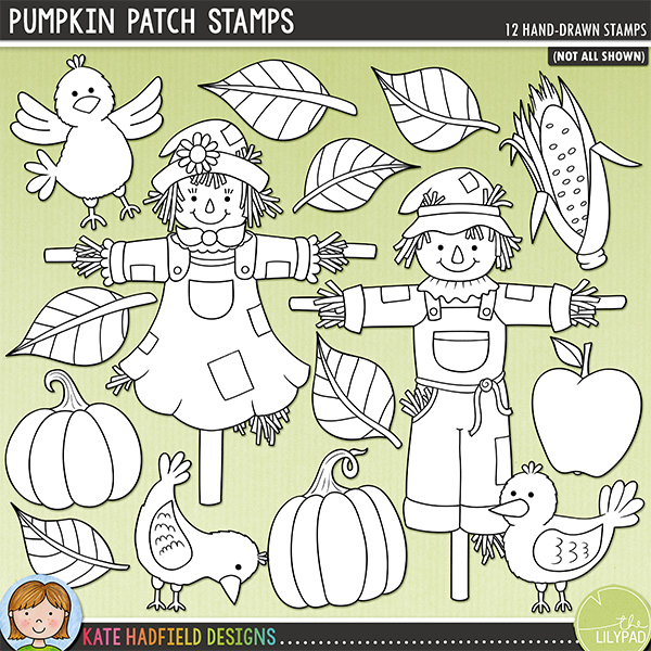 Outline versions of my Pumpkin Patch doodles, this stamp pack contains the same doodles in three different formats: black outline png, black outline filled with white png (as shown in the preview) and a new bolder outline version for working on a smaller scale. Digital stamps are perfect for creating colouring sheets, cards and other hybrid projects as well as for stamping on your digital scrapbooking pages!	A little mini set of scarecrows (who aren't at all scary!) and their fearless crow friends! Contains the following hand drawn doodles: apple, corn, 3 crows, 3 leaves, 2 pumpkins and 2 scarecrows. FOR PERSONAL & EDUCATIONAL USE (please see my Terms of Use for more information)