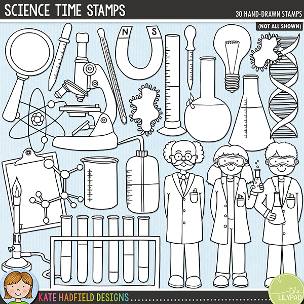 Outlined versions of my Science Time doodles, this stamp pack contains the same doodles in three different formats: black outline png, black outline filled with white png (as shown in the preview) and a new bolder outline version for working on a smaller scale. Digital stamps are perfect for creating colouring sheets, cards and other hybrid projects as well as for stamping on your digital scrapbooking pages! 	Contains the following hand drawn stamps: atom, beaker, boy, girl, professor, bunsen burner, chemical diagram, clipboard, DNA double helix, 4 flasks, goggles, light bulb, magnet, magnifying glass, 2 microbes, microscope, molecule, petri dish, 2 pipettes, radiation symbol, 2 test tubes, test tube rack, thermometer and water bottle.FOR PERSONAL & EDUCATIONAL USE (please see my Terms of Use for more information)