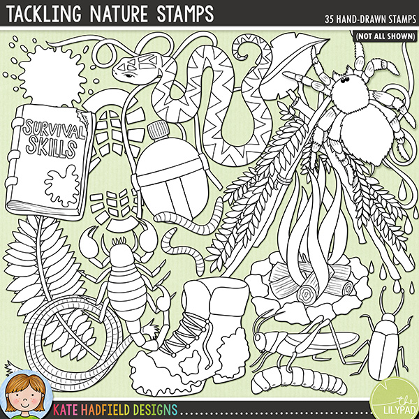 Outline versions of my Tackling Nature doodles, this stamp pack contains the same doodles in three different formats: black outline png, black outline filled with white png (as shown in the preview) and a new bolder outline version for working on a smaller scale. Digital stamps are perfect for creating colouring sheets, cards and other hybrid projects as well as for stamping on your digital scrapbooking pages!Inspired by a friend's son and his love for TV survival shows, Tackling Nature is a jam-packed, down and dirty doodle pack created for all the intrepid explorers out there! Contains the following hand-drawn doodles: stick arrow, beetle, dirty boot, handmade bow and arrow, camp fire, water canteen, cricket, footprint, grub, survival handbook, knife, 3 leaves, 2 mud splats, puddle, rain drops, rocks, rope, scorpion, shelter, smoke signals, 2 snakes, SOS sign, handmade spear, tarantula, splash, 2 vines, water splat and 2 meal worms. Also contains the following wordy-bits: adventure, bushcraft, bush tucker, campfire, danger, desert, jungle, mountain, nature, roughin' in, survival, survivor, wild and wilderness.FOR PERSONAL & EDUCATIONAL USE (please see myTerms of Usefor more information)