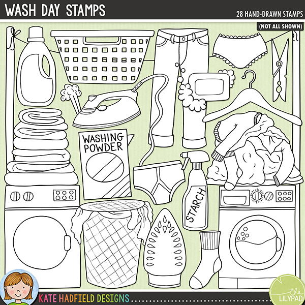 Outlined versions of my Wash Day doodles, this stamp pack contains the same doodles in three different formats: black outline png, black outline filled with white png (as shown in the preview) and a new bolder outline version for working on a smaller scale. Digital stamps are perfect for creating colouring sheets, cards and other hybrid projects as well as for stamping on your digital scrapbooking pages!Contains the following hand drawn stamps: coathanger; dryer; fabric softener bottle; pile of folded laundry; 2 irons; blast of steam; jeans; knickers; laundry bin; peg, pile of dirty clothes; skirt; soap; 2 socks; strach spray bottle; towel; t-shirt; underpants; washing basket; washing line, poles and pegs; washing machine; 2 boxes of washing powder.FOR PERSONAL & EDUCATIONAL USE (please see myTerms of Usefor more information)